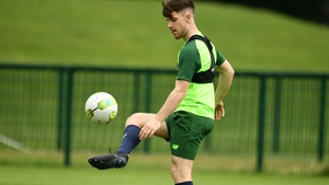 Aaron Bolger training with the Ireland U19 team