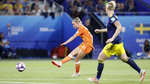 Jackie Groenen smashes in the only goal at Lyon