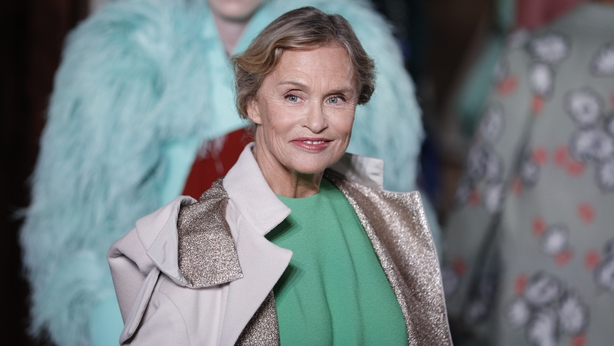 Model Lauren Hutton wears a creation for the Valentino Haute Couture Fall-Winter 2020