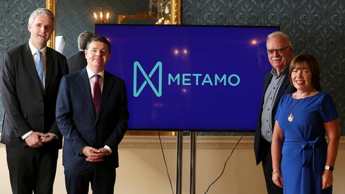 Denis McCarthy, CEO of Fexco, Minister for Finance Paschal Donohoe with Claire Lawton, CEO St Canice's Credit Union Kilkenny and Joe O'Toole, Chairperson of MetaCU at today's launch