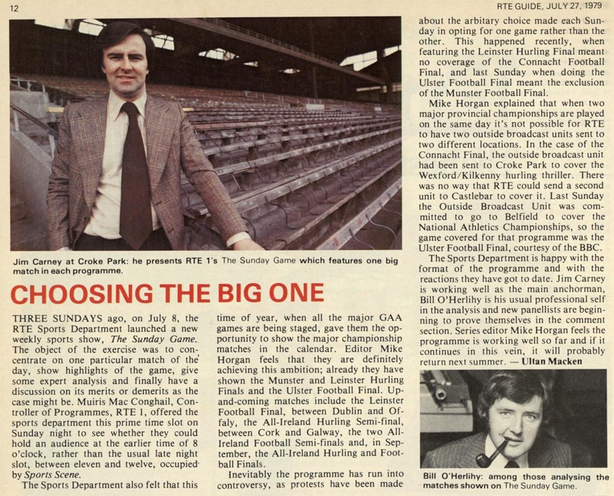 RTÉ Guide 27 July 1979 p7 'The Sunday Game'