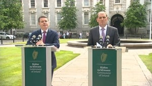 Paschal Donohoe (L) and Paul Kehoe held a news briefing this afternoon