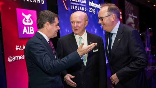 Finance Minister Paschal Donohoe, US Ambassador Edward Crawford and Mark Gantly, American Chamber of Commerce President