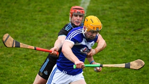 David Treacy in action against Laois' Paddy Purcell during the league
