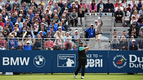 Shane Lowry in action on the second day of the Irish Open