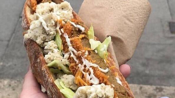 The vegan chicken fillet roll in all its glory. Photo: Vegan Sandwich Co