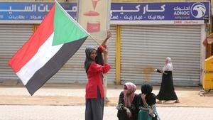 Protestors celebrate on the streets of Khartoum in Sudan