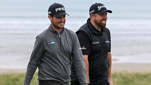 Cormac Sharvin (L) cracks a joke with Shane Lowry