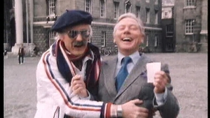 Mike Murphy and Gay Byrne during a 'Live Mike' prank in 1982