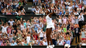 Gauff celebrates after her incredible win