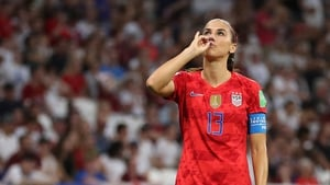 Alex Morgan with her 'cup of tea' celebration when she scored against England in the World Cup