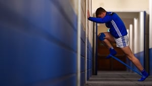 Laois centre-forward Mark Kavanagh warms up ahead of a game earlier this year