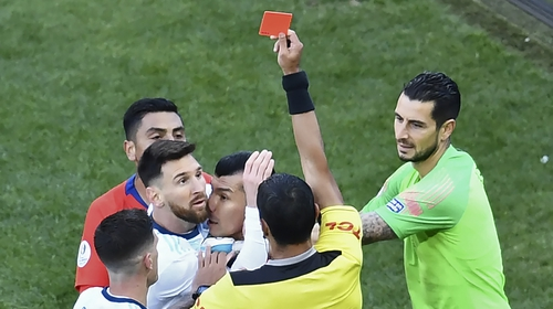 Messi was red-carded in Argentina's 2-1 win over Chile