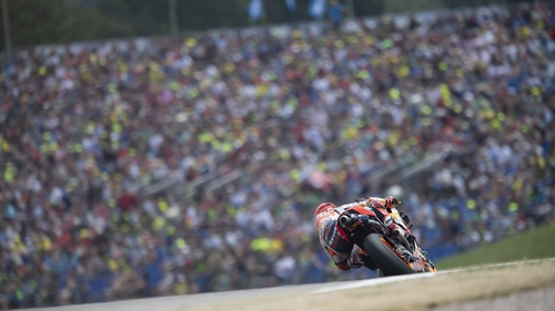 Marc Marquez en route to victory at the eastern Germany circuit