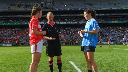 Ciara O'Sullivan of Cork and Dublin's Sinéad Aherne prior to 2018 All-Ireland final