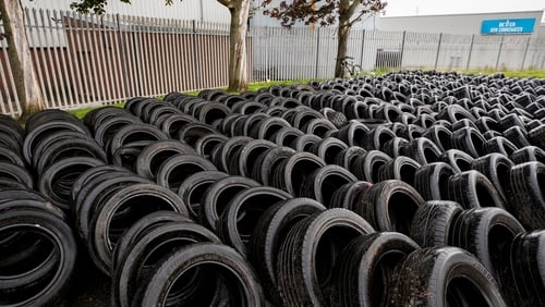 Tyres from the bonfire site in Lismore Street