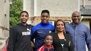 Aaron Oyiki (second left) with his brothers Josh and Michael and parents Dafe and Moses