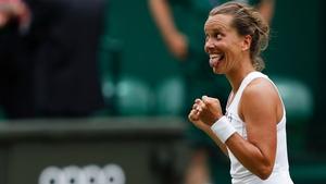 Czech Republic's Barbora Strycova celebrates beating Johanna Konta