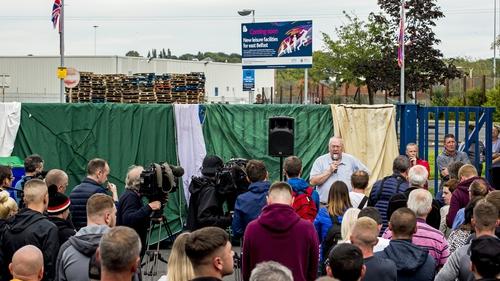 Orange Order Grand Secretary Mervyn Gibson addresses rally at the bonfire site last night