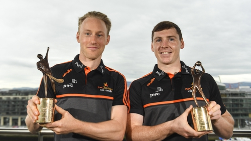 O'Keeffe and Brennan with their awards