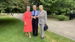 Noeline Mcgrath (far left) and Angela Leavy (far right) at today's event at Dublin's Farmleigh House