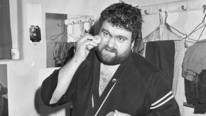 Brendan Grace preparing before his show in the Gaiety Theatre, Dublin, circa January 1986