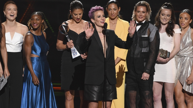 At the ESPYs Rapinoe wore slouchy leather shorts with a black blazer (Chris Pizzello/AP)