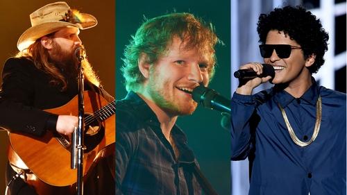 Chris Stapleton, Ed Sheeran and Bruno Mars