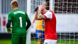 Mikey Drennan reacts after a missed chance at Inchicore