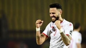 Tunisia's defender Dylan Bronn celebrates at the full-time whistle