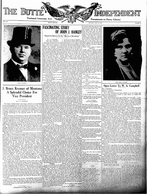 The front page of Butte Independent, 1928. Article titled 'Fascinating Story of John J Hanley'.