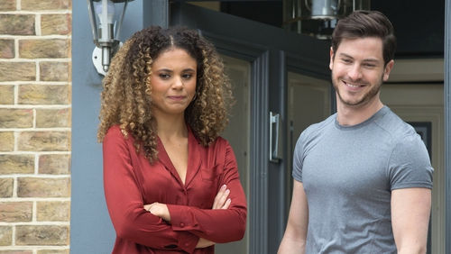 EastEnders' Chantelle and Gray Atkins - If you have been affected by issues raised in this EastEnders story, please visit: www.rte.ie/helplines
