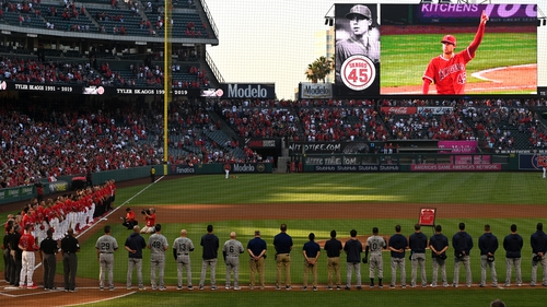 The LA Angels pay tribute to Tyler Skaggs