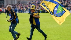 Roscommon supporters on the pitch after their Connacht SFC final win against Galway