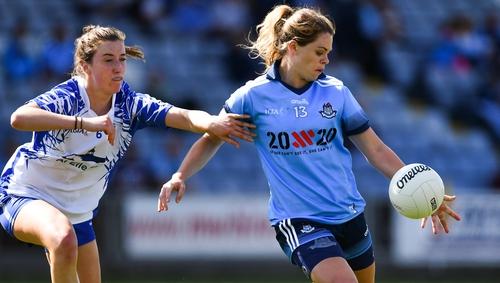 Noelle Healy of Dublin (R) in action against Karen McGrath
