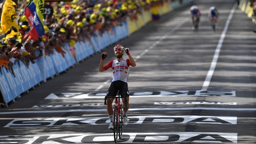 Thomas De Gendt of Belgium and Team Lotto Soudal celebrates his stage win