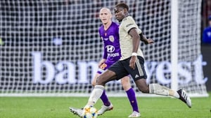 Paul Pogba in action against Perth Glory