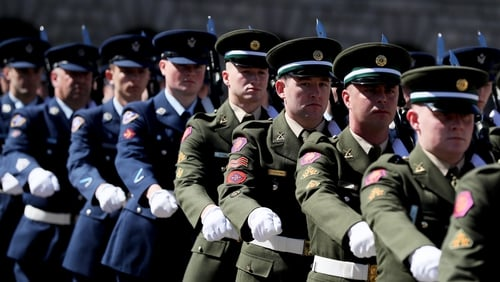 Members of the Defence Forces during the National Day of Commemoration Ceremony at Collins Barracks in Dublin in 2019