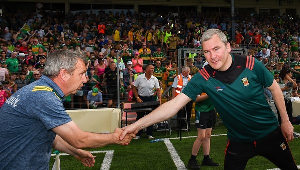 Keane and Horan shake hands after the final whistle