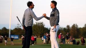 Bernd Wiesberger (right) is congratulated by Benjamin Hebert