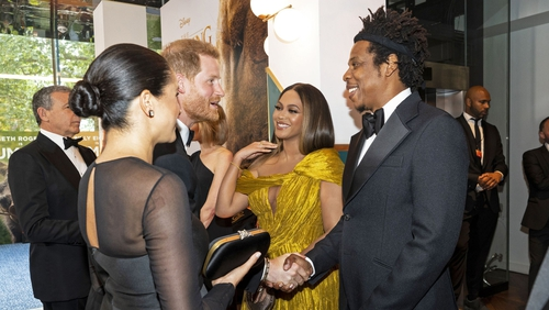 Meghan Markle, Prince Harry, Beyonce and Jay-Z meet at the premiere of The Lion King
