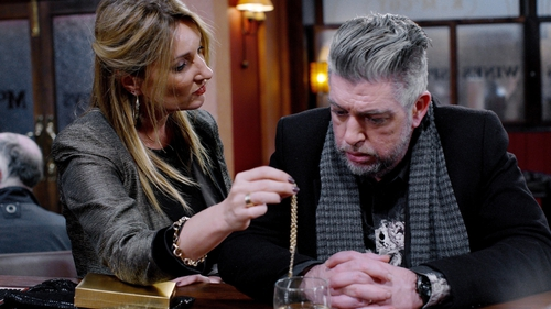 Karl Shiels as Robbie Quinn in Fair City, pictured with Aisling O'Neill as Carol Foley
