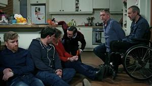 Daithí Mac Suibhne as Emmet, Maclean Burke as Damien, Sorcha Fox as Miriam, Marcus Lamb as Dr James Oakley, Karl Shiels as Robbie and Steve Gunn as Dan (2018)