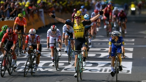 The Belgian Wout Van Aert celebrates a maiden Tour de France stage victory