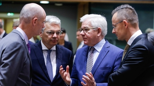Dutch Foreign Minister Stef Blok, Belgian Foreign Affairs Minister Didier Reynders, Polish Foreign Minister Jacek Czaputowicz and Hungarian Foreign Affairs Minister Peter Szijjarto (L-R)