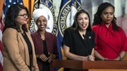 Alexandria Ocasio-Cortez speaks to the media accompanied by Rashida Tlaib, Ilhan Omar and Ayanna Pressley