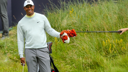 Tiger Woods during practice at Royal Portrush