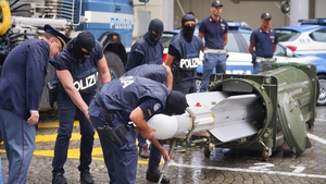Italian police show off the seized missile in Turin