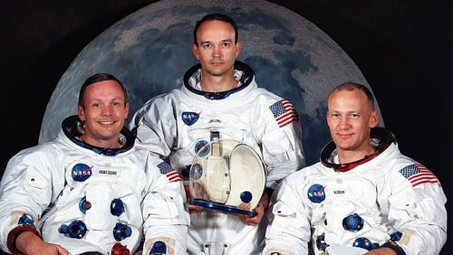Neil Armstrong (left), who passed away in 2012, poses with Michael Collins (c) and Buzz Aldrin (r) before their historic flight in 1969