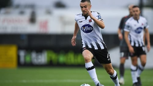 Duffy in action during the Champions League qualifying round first leg against Riga FC